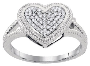 BrianG 10k WHITE GOLD 0.15 CTTW DIAMOND MICRO PAVE HEART RING