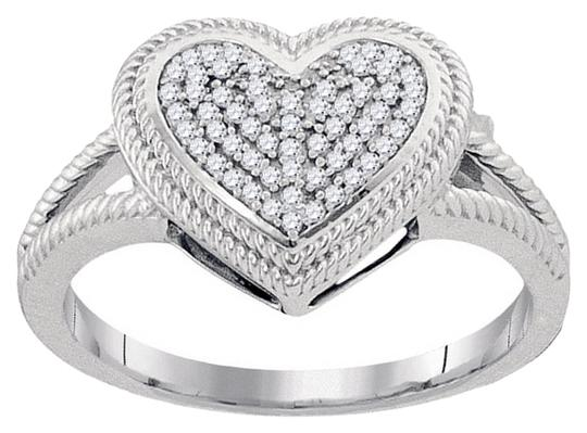 Other BrianG 10k WHITE GOLD 0.15 CTTW DIAMOND MICRO PAVE HEART RING