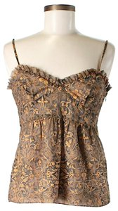 Tocca Silk Paisley Ruffle Top Brown