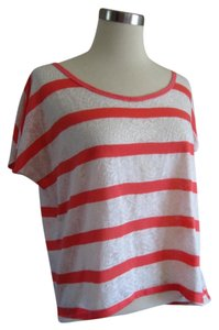 Urban Outfitters Lace Striped Crop Boxy Style Top Coral Pink & White
