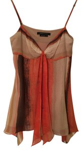 BCBGMAXAZRIA Silk Orange Striped Top Multi Color