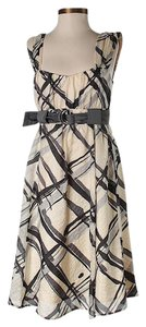 Nanette Lepore short dress Beige Silk Plaid Print A-line on Tradesy