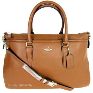 Coach Leather Shoulder Strap Crossbody Morgan Satchel in Saddle (Brown)