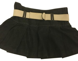 Theory Mini Belted Denim Pleated Mini Skirt Black