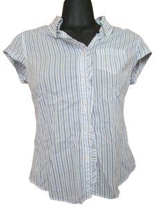 Abercrombie & Fitch Cotton Blouse Striped Ruffled Button Down Shirt White & Blue