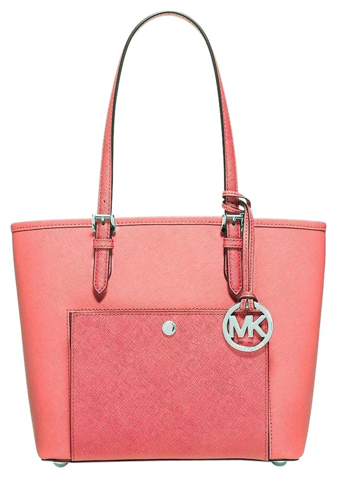 cb67e40aaf17 Michael Kors Jet Set Medium Saffiano Snap Pocket Msrp Coral Watermelon  Leather Tote