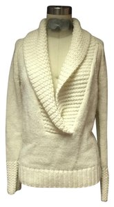 Ann Taylor Loft White V Neck Bohemian Sweater