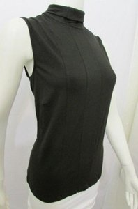 Akris Women Elastic Solid Sleeveless Fashion Turtle Neck Blouse Top Black