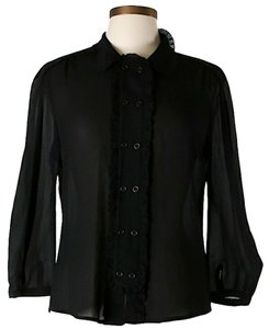 L.A.M.B. Silk Button Front Longsleeve Top Black