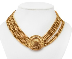 Chanel Chanel Women's Gold Tone Chain Link Pendant Necklace, 17 (27244)