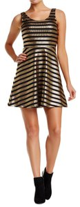 Soprano short dress Black Gold Gold Skater Striped on Tradesy