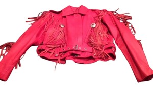 Antelope Creek Leather Fringe Red Leather Jacket