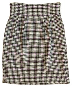 Paul Smith Wool Houndstooth Pencil Skirt White, Purple, black