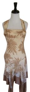 BCBGMAXAZRIA Excellent Condition Bcbg Halter Silk Beige/tan/cream Dress