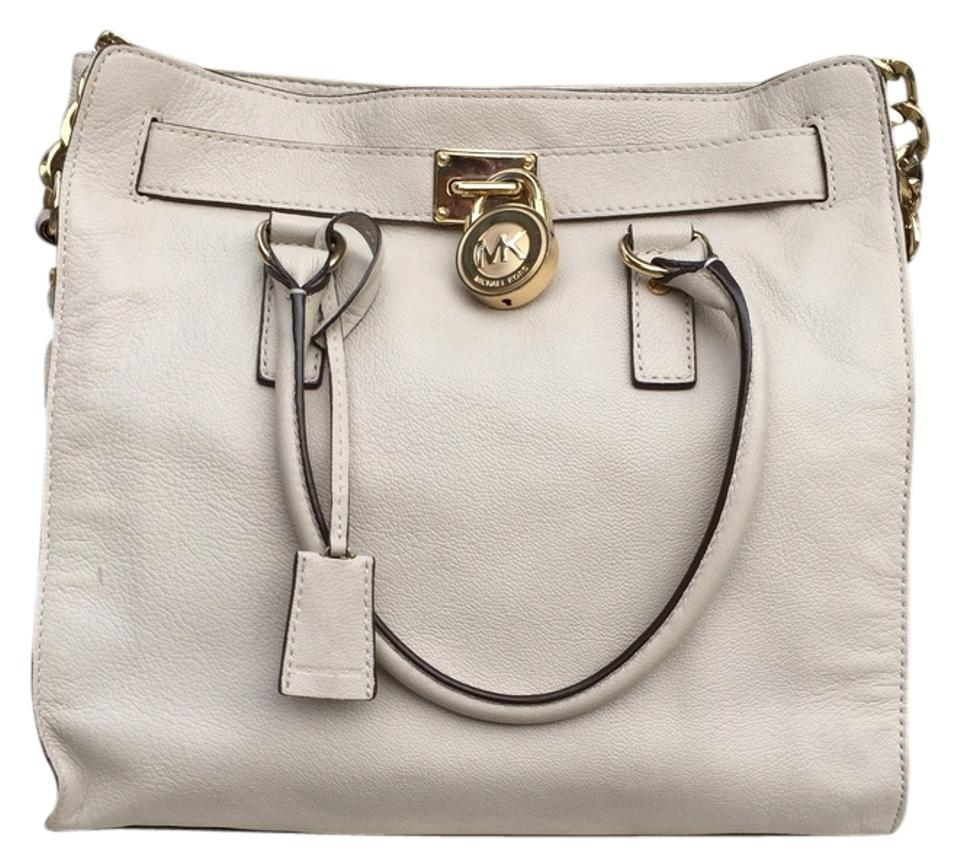 02d417797333e9 Michael Kors Hamilton Large N/S Tote Style #mmkor20035 Ivory Leather Satchel