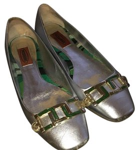 Missoni Silver w gold and green buckles Flats