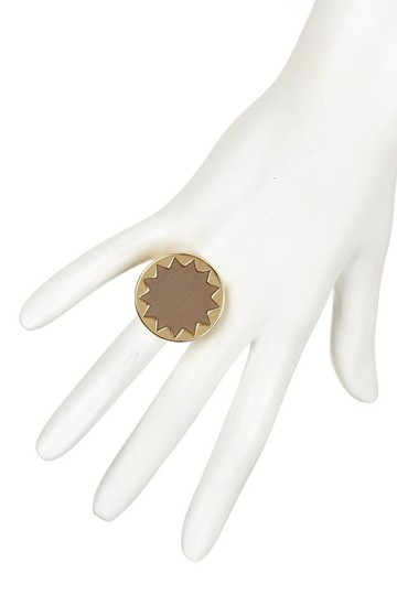 House of Harlow 1960 House of Harlow Small Leather Sunburst Cocktail Ring 7 Image 1