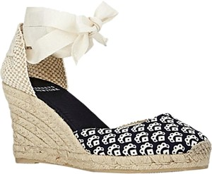 Barneys New York Espadrille Ankle Tie navy/off-white Wedges