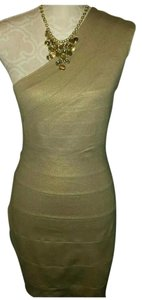 Express Bodycon Gold One Shoulder Dress