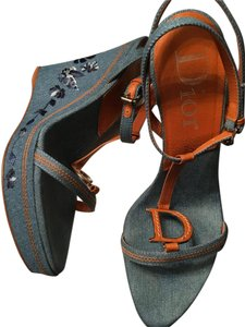 Dior Embroidered T Strap Blue Jean Wedges