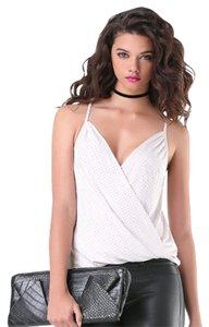 bebe Studded Embellished Draped Cross Front Top Gray