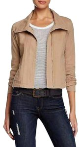 James Perse Paneled Knit Insets Moto Military Jacket