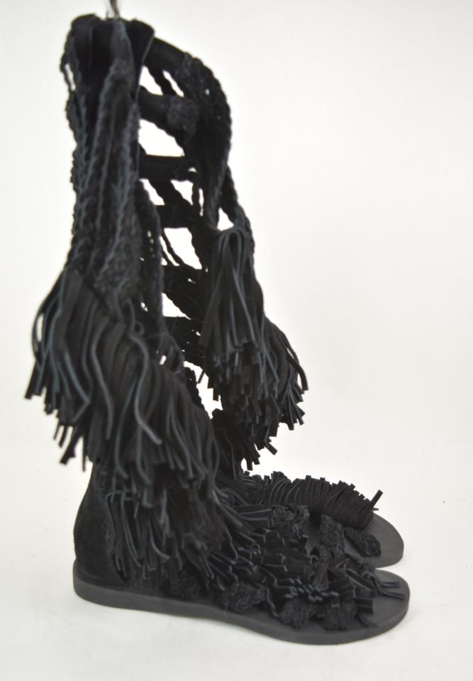 Manzu Black Suede Campbell Sandals Gladiator Tall Braided Jeffrey qZ5Epwvxx