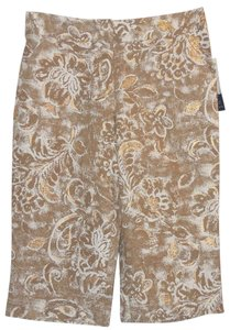 Coldwater Creek Linen Metallic Capris Gold