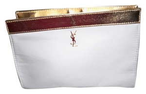 Saint Laurent New Yves Saint Laurent Cosmetic Bag white and Gold