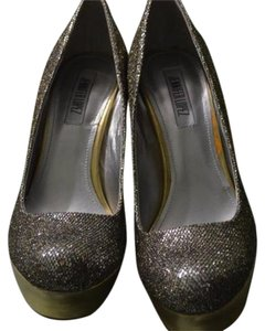 Jennifer Lopez Sparkle Prom Wedding Sequin Silver with Gold Platform Pumps