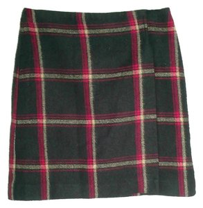 New York & Company Plaid Wrap Soft Mini Skirt multi-color