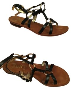 Juicy Couture Black & Gold Sandals