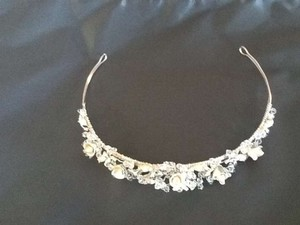 Bagatelle Silver/Beige With Roses and Crystals Tiara