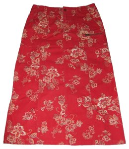 Eddie Bauer Long Floral Straight Petite Maxi Skirt Red