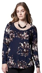 Vera Wang Floral Long Sleeve Knit T Shirt Blue
