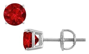 LoveBrightJewelry 14K White Gold Prong Set Created Ruby Stud Earrings 0.75 CT TGW