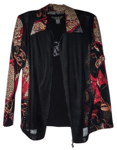 Valentina Top black with red and animal print with accented crystals