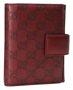 Louis Vuitton GUCCI GG Guccissima Red Leather Diary Day Planner Canvas Agenda Ring Cover PM with Box