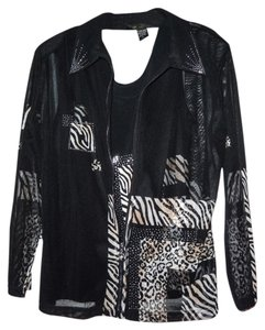 Valentina Top black with ivory and light gold animal print with accented crystals.