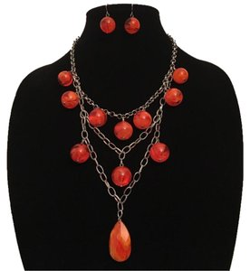 Orange & Silver Beaded Chain Statement Necklace