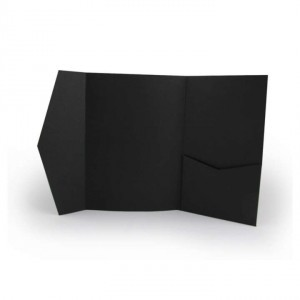 Ebony Black - Matte Pocket-fold Invitations