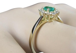 Other 14k yellow gold, 0.50 ct. t.w. genuine diamond, green emerald ring