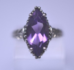 Kabana Kabana, Size 6.25, sterling silver, Marquise-cut, 2.50 ct. t.w. purple amethyst, February birthstone, statement, scroll, Solitaire, designer ring