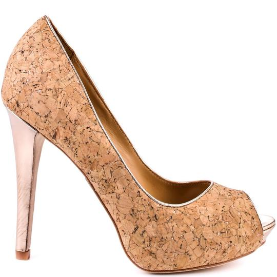 Badgley Mischka Peeptoe Cork Pumps