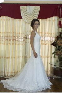 Handmade Elegant Mermaid V Neck White Lace Wedding Dress Wedding Dress