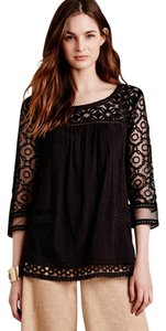 Anthropologie Meadow Rue Lace Black Cotton Top
