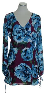 Leith short dress Blue Floral Long Sleeve Tunic on Tradesy