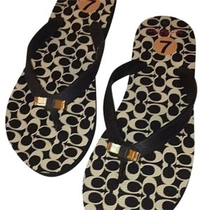 Coach Black/Gold Sandals