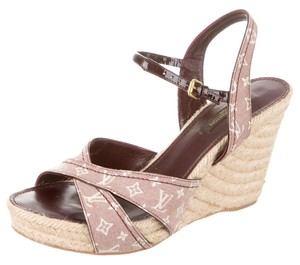 Louis Vuitton Lv Monogram Idylle Majorca Espadrille Ankle Strap Red, Beige Sandals