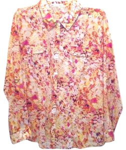 Calvin Klein Collection Flowers Print Free Shipping Button Down Shirt MULTI-COLORS